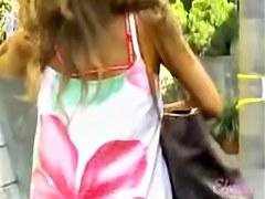 Gorgeous Asian babe in a flower dress got sharked video