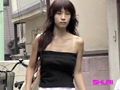 Skinny babe got top sharked by the passer by on the street