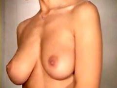 Voyeur watching girl trying on bras