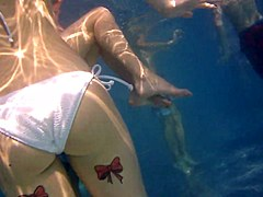 Underwater Hidden Girl in White Bikini loop Tatto