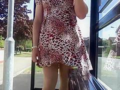 red dress tan stockings windy upskirt stockings