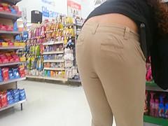 Candid - Latina Worker Bent Way Over
