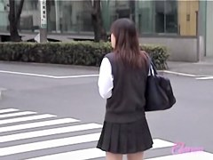 Hot college babe got skirt sharked after crossing the street