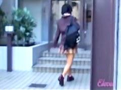Just as she tried to enter inside she got skirt sharked