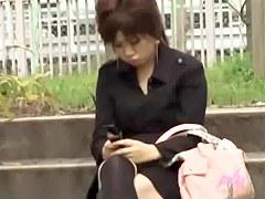 Hot Asian babe in socks got skirt sharked in her fav park