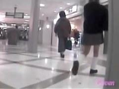 Asian schoolgirl was skirt sharked inside of a shopping mall