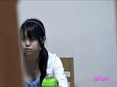 Her regular day at home filmed solo on hidden cameras