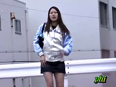 Cool Asian teen with no panties sharked at the parking lot