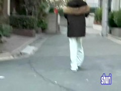 Japanese chick sharked in the middle of a lonely road