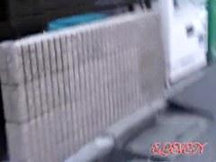 Good looking Asian schoolgirl street sharked in public.