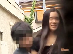 Asian has her pubic hair pulled out during skirt sharking.