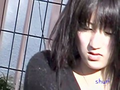 Asian girl gets sperm sharked in a open playground.