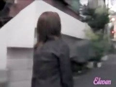 Asian has her skirt lifted high during street sharking.