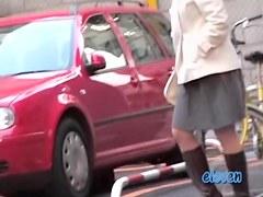 Mature Asian has a public skirt sharking experience.