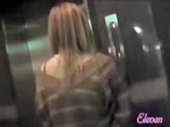 Blonde Asian gets spanked during a skirt sharking.
