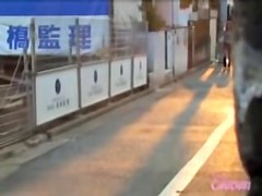 Asian babe gets a skirt sharking in the beautiful sunset.