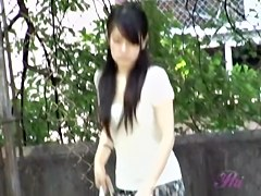 Exclusive Asian sharking in bushes with panty ass upskirt
