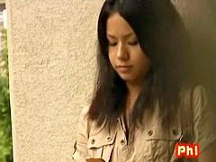 Hot Asian babe waiting gets a juicy street sharking.