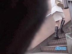 Hot voyeur scenes of girls upskirt on stairs