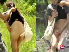 Asian babe texting falls victim to skirt sharking.