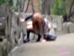 Asian babe falls to the ground during skirt sharking.