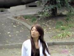 Asian babe has her skirt stolen by a skirt sharker.
