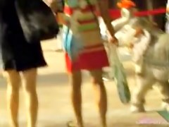 Two girlfriends going to the mall got skirt sharked