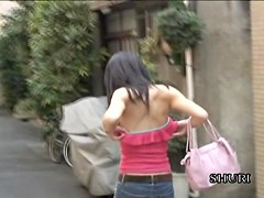 Boob shark jumped her shirt and bra in a quiet alley