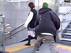Japanese freshman's underwear visible during skirt sharking