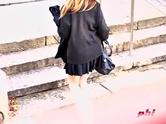 Horny voyeur filming hot Japanese women's cleavage