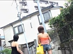 Two slutty Asian girls boob sharked while walking home