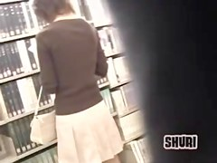 Accidental briefcase skirt sharking in a book store