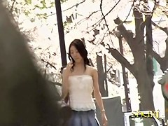 Japanese boobs sharking action in the park