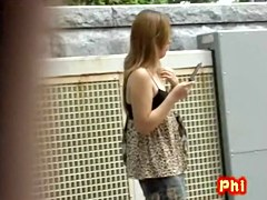 Sharking a tattooed Japanese girl with no panties on