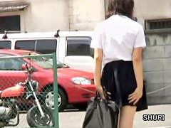 Asian schoolgirl quick public sharking