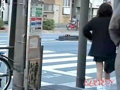 Japanese street sharking video showing a cute schoolgirl