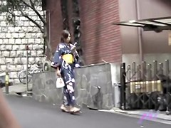 Japanese boob sharking action with a cute chick in a kimono