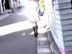 Asian skirt sharking master strikes again in public