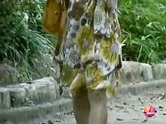 Sharking of an adorable Asian girl wearing no panties