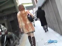 Skirt sharking video showing a graceful Japanese girl