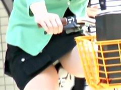 Upskirt video shows Japanese girls with visible panties