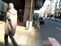 Japanese schoolgirls in a kinky street sharking video