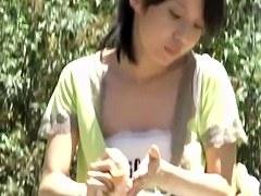 Japanese sharking exposes white panties under a skirt