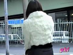 Slender Japan teen got her skirt sharked in the street