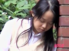 Sweet Japanese gal in a wild public sharking video