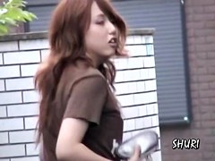 Asian girl gets her pants sharked in the street