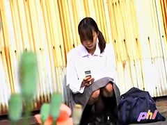 Asian schoolgirl gets her shirt stripped during public sharking