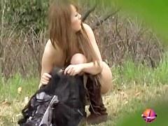 Public sharking video of stunning oriental vixen in the nature