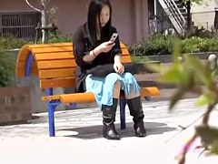 Young oriental girl loses her long skirt when some dude rips it