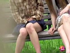Bench sharking video of two tantalizing hotties receiving huge surprise